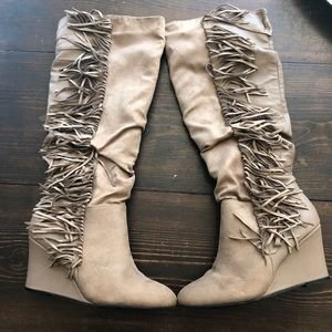 Fringe Wedge Tan Tall Boots